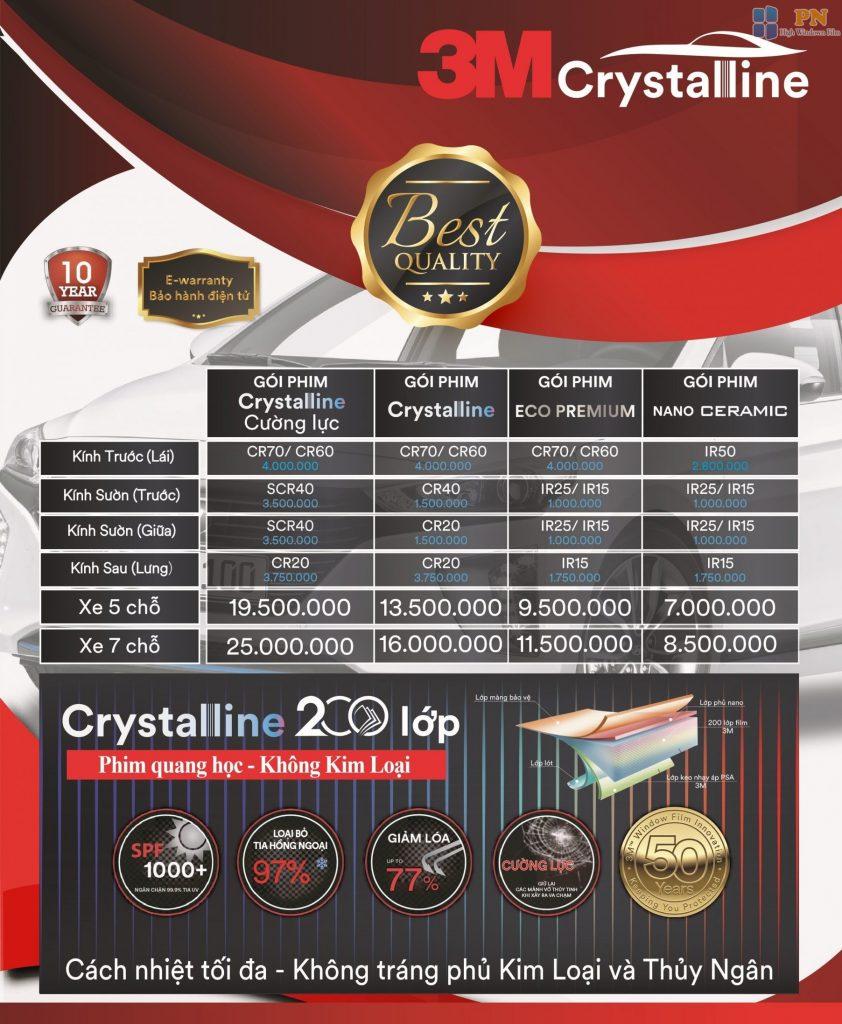Bảng giá dán phim cách nhiệt crystalline 3m