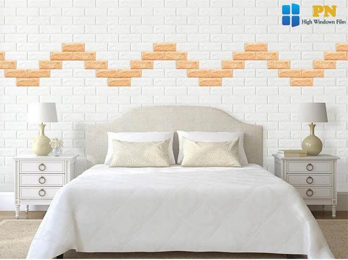 Dùng xốp dán tường trang trí phòng ngủ