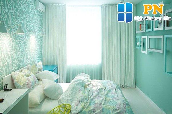 Dán tường với tông màu xanh ngọc