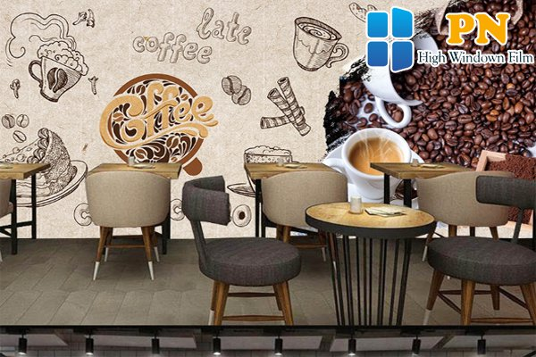 Phong cách giấy dán tường quán cà phê cá tính